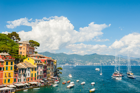 sea of houses: Beautiful sea coast with boats and colorful houses in Portofino, Italy