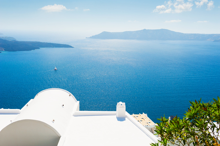 Beautiful view of the sea and islands. Santorini, Greece. Stock Photo