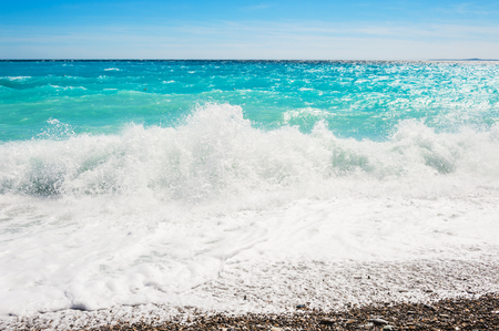 azure: Beautiful sea with turquoise water. Cote dazur in Nice, France.