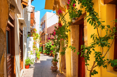 Beautiful street with colorful buildings in Chania, Crete island, Greece. Summer landscape