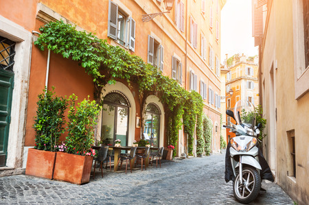 Beautiful street in Rome, Italy. Vintage filter, retro effect