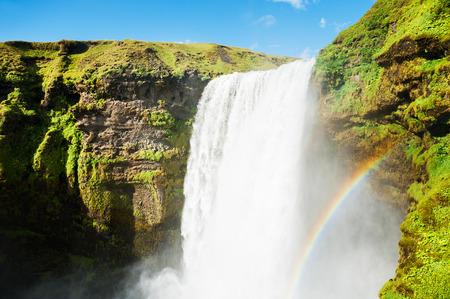 skogafoss waterfall: Skogafoss waterfall, southern Iceland. Beautiful summer landscape