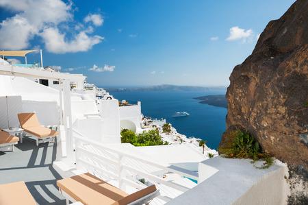 White architecture on Santorini island, Greece. Beautiful summer landscape, sea view