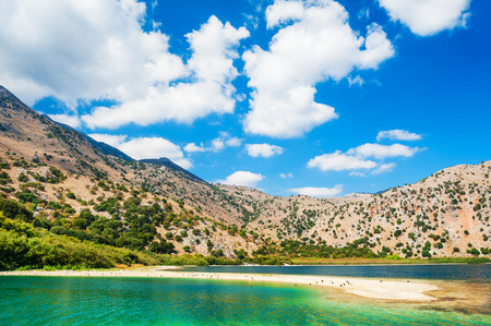 Kournas lake in the mountains, Crete island, Greece. Beautiful summer landscape