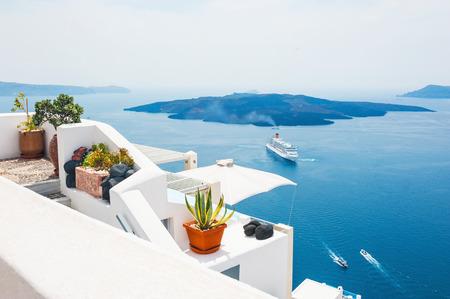 White architecture on Santorini island, Greece. Beautiful landscape, sea view