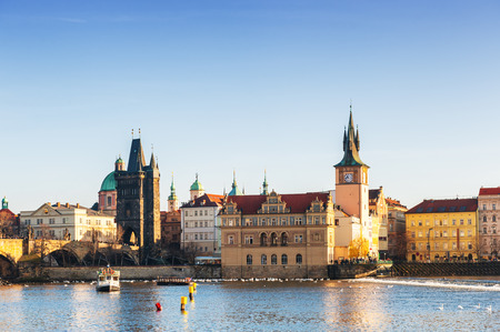 charles bridge: Old Town and Charles bridge in Prague, Czech Republic Stock Photo