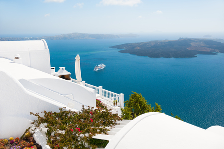 White architecture on Santorini island, Greece. Beautiful landscape, sea view. Travel and vacation Stock Photo