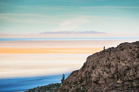 Top view of salt flat Salar de Uyuni at sunset, Altiplano, Bolivia Stock Photo