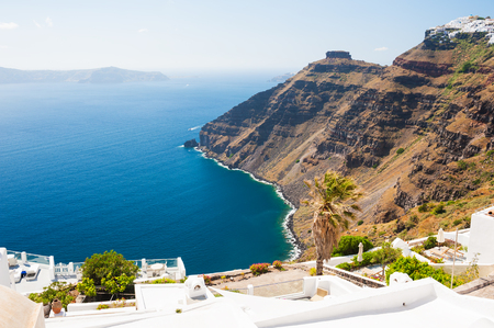 Panoramic view of Santorini island, Greece. Beautiful landscape, sea view.