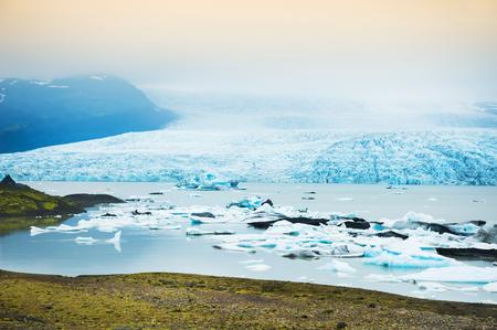 Icebergs in the glacial lake. Vatnajokull glacier, Fjallsarlon lagoon, south Iceland Stock Photo