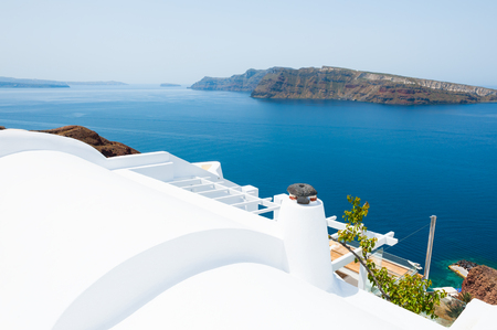 White architecture on Santorini island, Greece. Beautiful landscape, sea view.