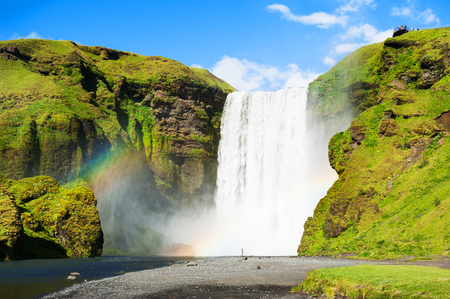 Beautiful and famous Skogafoss waterfall in Iceland. Summer landscape Stock Photo
