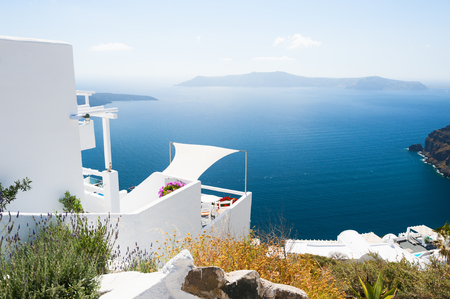 White architecture on Santorini island, Greece. Travel and vacation