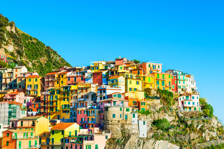 Colorful houses of  Manarola town, Cinque Terre national park, Liguria, Italy
