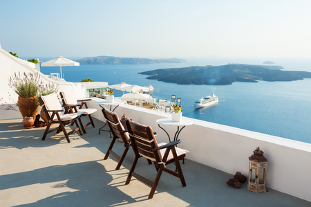 White architecture on Santorini island, Greece. Beautiful terrace, sea view