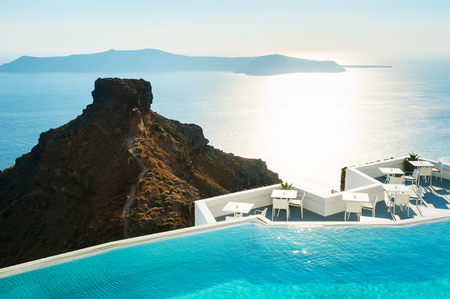 Santorini island, Greece. Beautiful landscape at sunset, sea view. Travel and vacation Stock Photo