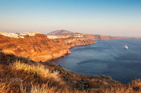 Panoramic view of Santorini island at sunset, Greece. Summer landscape, sea view Stock Photo