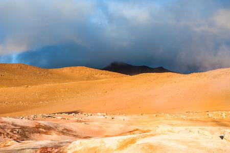 Desert landscape of Sol de Manana at sunrise, Altiplano, Bolivia Stock Photo