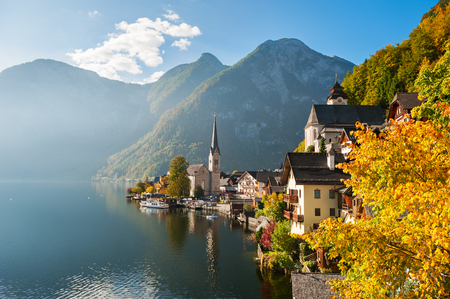 Beautiful and famous Hallstatt village in Austrian Alps in autumn