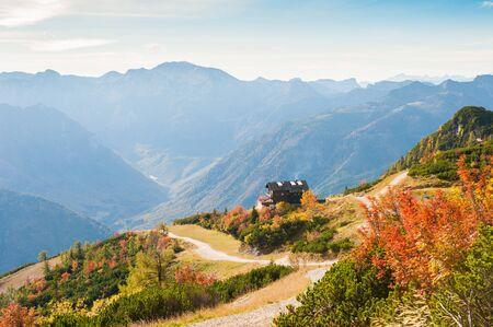 Beautiful mountain view in autumn. Feuerkogel ski resort, Austrian Alps