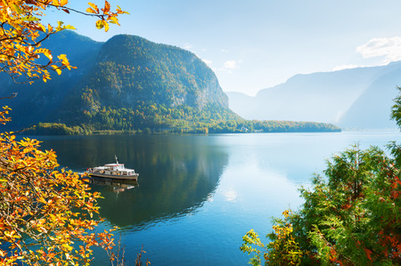 Beautiful autumn view of Hallstatter lake in Austrian Alps