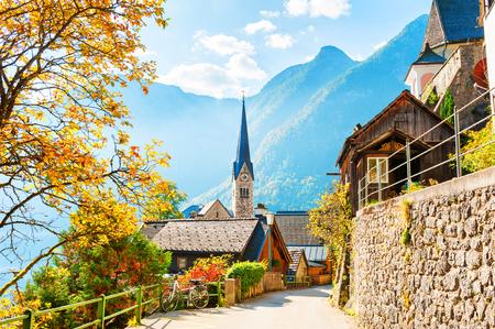 Beautiful street in Hallstatt village in autumn, Austrian Alps Stock Photo