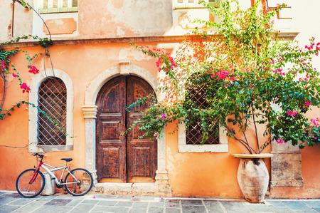 Beautiful ancient building in Chania, Crete island, Greece. Banco de Imagens - 93606492