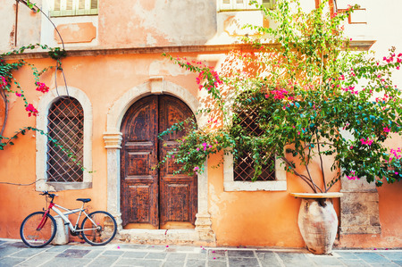 Beautiful ancient building in Chania, Crete island, Greece.