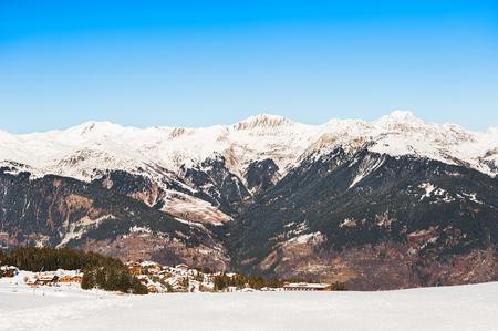Courchevel ski resort in French Alps. Winter landscape