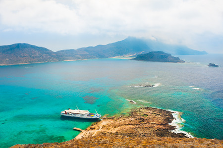 Balos bay in Crete island, Greece. Panoramic view from the Gramvousa island Stock Photo