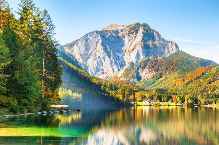 Beautiful Vorderer Langbathsee lake in Austrian Alps. Autumn landscape