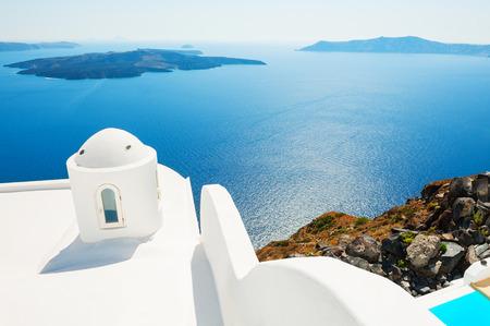 White architecture and blue sea, Santorini island, Greece.