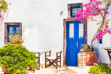 Traditional white-blue greek architecture on Santorini island, Greece.
