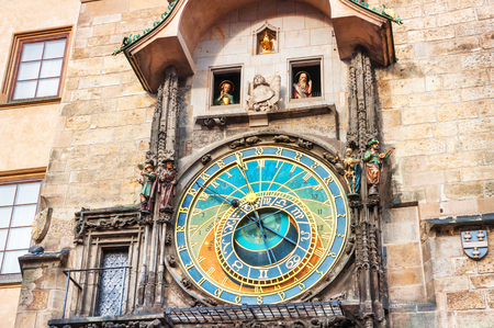 Historical medieval astronomical clock in Old Town Square in Prague, Czech Republic