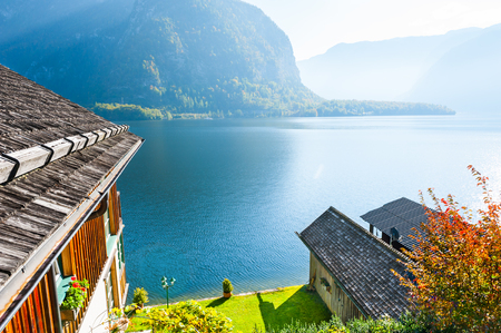 Beautiful view of Hallstatter lake in Hallstatt village, Austrian Alps