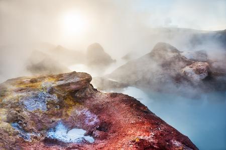 Geysers and fumaroles Sol de Manana at sunrise, Altiplano, Bolivia