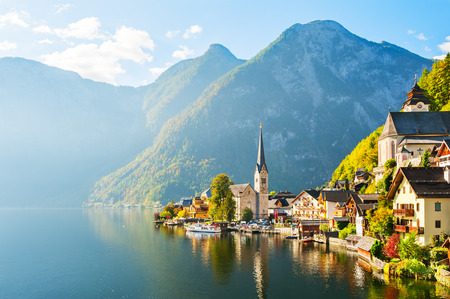 Hallstatt village on Hallstatter lake in Austrian Alps  Stock Photo