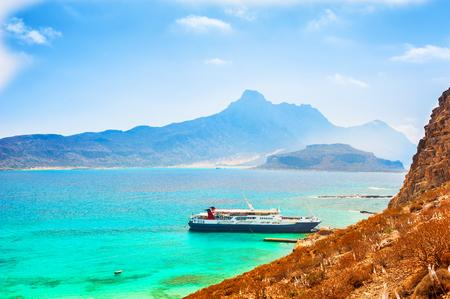Beautiful sea shore on the Gramvousa island in Crete island, Greece.