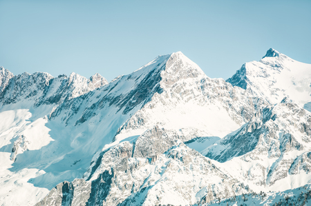 Snow-covered mountain peaks in winter. Alps mountains, France Banco de Imagens