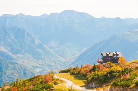 House in the mountains. Autumn landscape in Austrian Alps