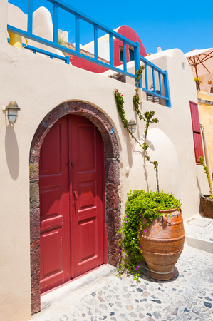 Traditional greek architecture on Santorini island, Greece.