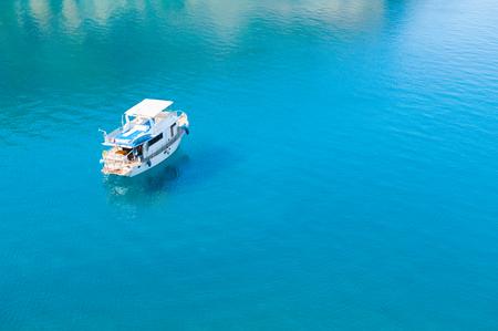 White tourist boat in the sea. Kemer, Turkey