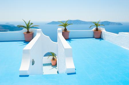 Santorini island, Greece. Beautiful summer landscape, sea view. Stock Photo