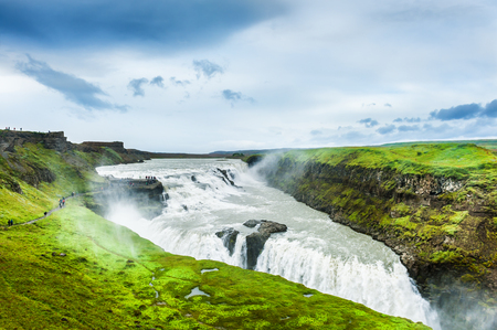 Gullfoss waterfall in Iceland. Golden circle route in Iceland. Beautiful summer landscape Stock Photo