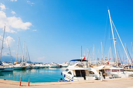 Yachts in the port of Kemer, Turkey. Summer landscape