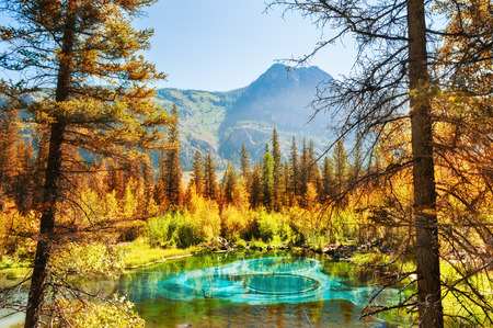 Blue geyser lake in Altai mountains, Altai Republic, Siberia, Russia 版權商用圖片