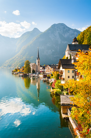 Famous Hallstatt village in Alps mountains, Austria. Beautiful autumn landscape Stock Photo