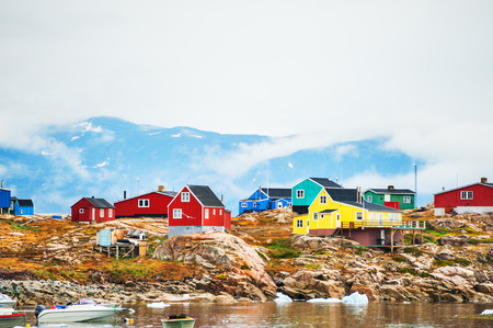 Colorful houses in Saqqaq village, western Greenland