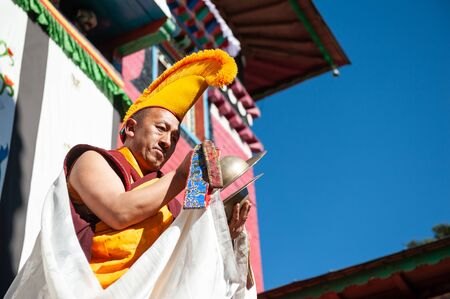 Tengboche, Nepal - October, 26, 2018: The monk perform religious buddhistic dance during the Mani Rimdu festival in Tengboche Monastery Sajtókép
