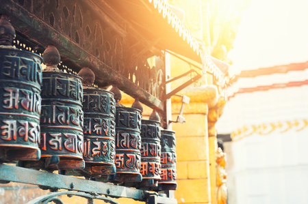 Prayer wheels in Swayambhunath Temple in Kathmandu, Nepal